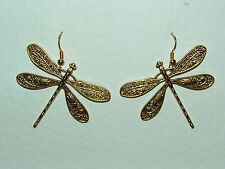 Lovely Large Art Nouveau Style Gold Plated Dragonfly Earrings Tilted