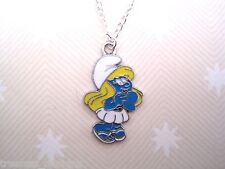 THE SMURFS *CLASSIC SITTING SMURF* Enameled Necklace SP chain XMAS GIFT POUCH