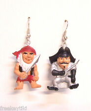 "Pirate Pirates Curse w/ Ole Sea Dog & Spaniard Mini 1"" Figures Dangle Earrings"