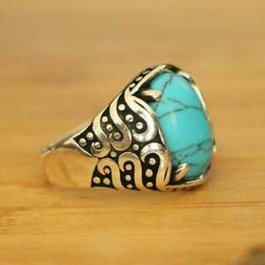Natural Turquoise Men's Rings, 925 Sterling Silver Turkish Rings Rings SIZE 12