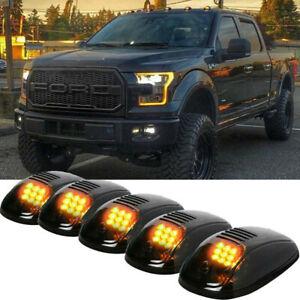 Smoked Lens Amber LED Cab Roof Marker Top Lights For Ford F150 F250 Super Duty