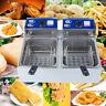 11L 5000W Electric 5.5L*2 Dual Tanks Deep Fryer Commercial Tabletop Fryer US