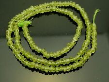 """Peridot Faceted Green Natural Gemstone 3mm x 2mm Rondelle Bead Std.14"""" Bargain"""