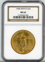 1908 $20 Saint Gaudens Gold Motto MS 62 NGC