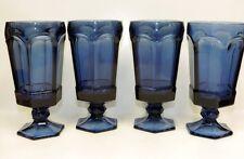 4 Pc. Vntg Fostoria Glass Dark Blue Virginia Ribbed Iced Tea Glasses 12 oz #1