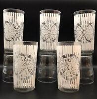 Lot Of 5 Vintage MCM 1950s Drinking Glasses Tumblers Stripes w Botanical Motif