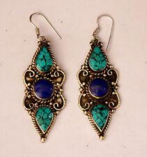 Silver Earrings Tops Turquoise Er11 Ethnic Handmade Hook Classic Sterling