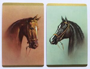 Pair of Vintage Swap/Playing Cards - BEAUTIFUL HORSES - Mint Condition