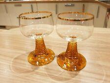 Pair of Luminarc Style Wine Goblet Glasses Brown Amber Beehive Stem