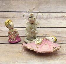 Vintage  Pipecleaner Angels Lot of 3 Figurines/ Ornaments Pink Noel