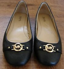 WOMEN'S MICHAEL KORS BLACK LEATHER LOGO BALLET FLATS SHOES SIZE 10 M