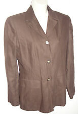 ANN TAYLOR WOMEN'S BROWN SUIT JACKET BLAZER CAREER EUC COTTON LINEN SIZE 6 EUC