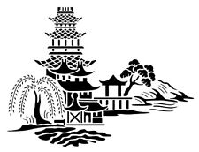 high detail airbrush stencil chinese scene FREE UK  POSTAGE