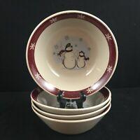 Set of 4 VTG Cereal Bowls by Royal Seasons RN1 Stoneware Snowmen Christmas