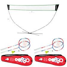Home Badminton Garden Pack Set - Portable QP Net & Post + 4 Rackets, 2 Shuttles