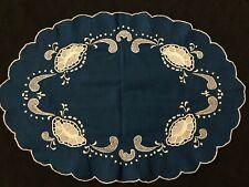 """Vintage Unique Blue Oval Doily W/ White Point De Venise Lace Inserts 11""""x16"""""""