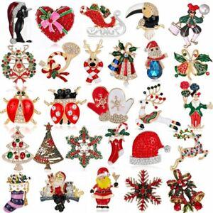 Christmas Enamel Elk Santa Brooch Pin Women Party Jewelry Xmas Gift Wholesale