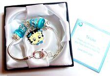 Betty Boop Enamel Charm Bracelet Personalised gift Box Tag & Bag Blue/Aqua