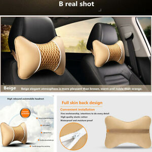 2x Car Seat Headrest Pillow Beige PU leather Ice Silk Neck Rest Support Cushion