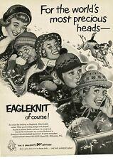1952 EAGLEKNIT Headwear Winter Caps Hats Toboggan CASEY JONES art Vintage Ad