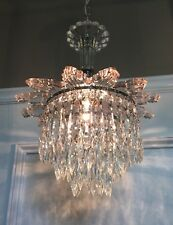 "33"" Long Chrome & Glass Wedding Cake Fixture Beautiful Prisms Wired 44B"