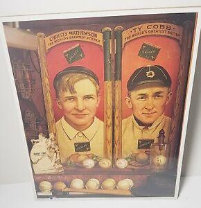 1993 CHRISTY MATHEWSON / TY COBB Print Poster Art MLB Vtg Baseball Memorabilia