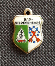 Vintage BAD NIEDERBREISIG Germany silver enamel travel bracelet shield charm