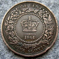 NOVA SCOTIA CANADA QUEEN VICTORIA 1861 ONE CENT