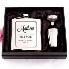 Engraved 6oz Wedding Hip Flask Gift Set Personalised Bomboniere Glass Favor Gift