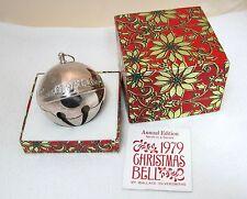 1979 Wallace Silverplate Sleigh Bell Christmas Ornament Church Houses + Box Shp