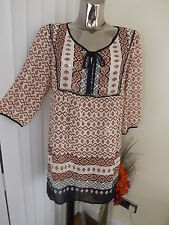 M&S CREAM  NAVY 3/4 SLEEVE LOOSE FIT TUNIC TOP SIZE 14 LADIES BNWT RP £35