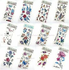 12 sheets fake temporary tattoo temporary tattoo rose flower butterfly
