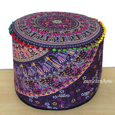 "New 22"" Vintage Ottoman Pouf Cushion Cover Floor Decorative Indian Cotton Throw"