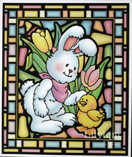 Vintage Easter Bunny Rabbit Duck Window Cling Sticker Party Shop Tulips Decor