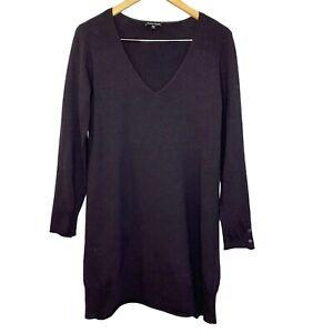 Eileen Fisher Small V-Neck Italian Merino Wool Long Sleeve Tunic Purple Sweater