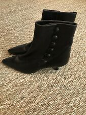 New Manolo Blahnik Brown Leather Booties Size 41.5