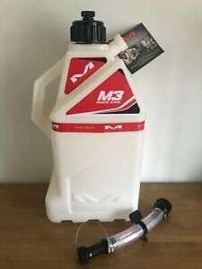 NEW MATRIX M3 RACE CAN JUG 15 LTR PETROL FUEL CAN WITH FLEXIBLE SPOUT WHITE/RED