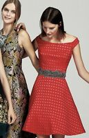NEW Anthropologie Moulinette Soeurs red Silk Blend  Off The Shoulder Dress 12
