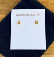 NWT Michael Kors small gold tone Logo lock stud earrings + Duster