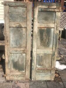 Vtg Pair  Old Wooden Window Shutters Architectural Salvage54in X17.5in Green