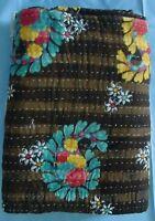 Vintage quilt hand stitched cotton floral print patchwork reversible bedding