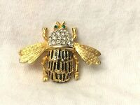 "Vintage Emerald Rhinestone Bee Brooch / Pin Signed CRAFT 1 3/4"" 1950's?."