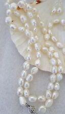 10mm WHITE FRESHWATER PEARL SET. NECKLACE  64 CM & EARRINGS  SUPER SHINE