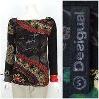 Womens Desigual Long Sleeve Jumper Top Black Cotton Viscose Boat Neck Size S