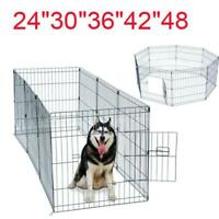 "24""—48"" Tall Wire Fence Pet Dog Cat Folding Exercise Yard 8 Panel Metal Play-Pen"