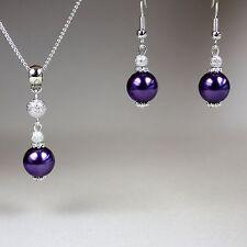 Purple pearl pendant necklace earrings silver wedding bridesmaid jewellery set