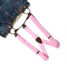 Suspender Braces Pop Unisex Adjustable Leather Button Holes Men Women Pink BD712