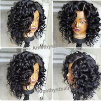 Brazilian Short Loose Wavy Lace Front Wig Natural Virgin Cute Bob Full Lace Wigs
