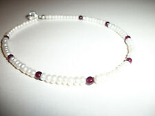 Sterling Eilver Clasp 9 1/2 Inches New Anklet Small White Pearls With Garnets