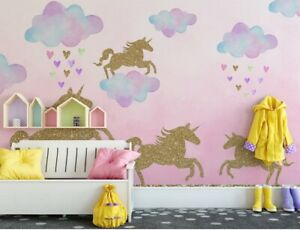 Unicorn Wall Stickers for kids' bedrooms, Pink Unicorn Decals for bedrooms, Unic